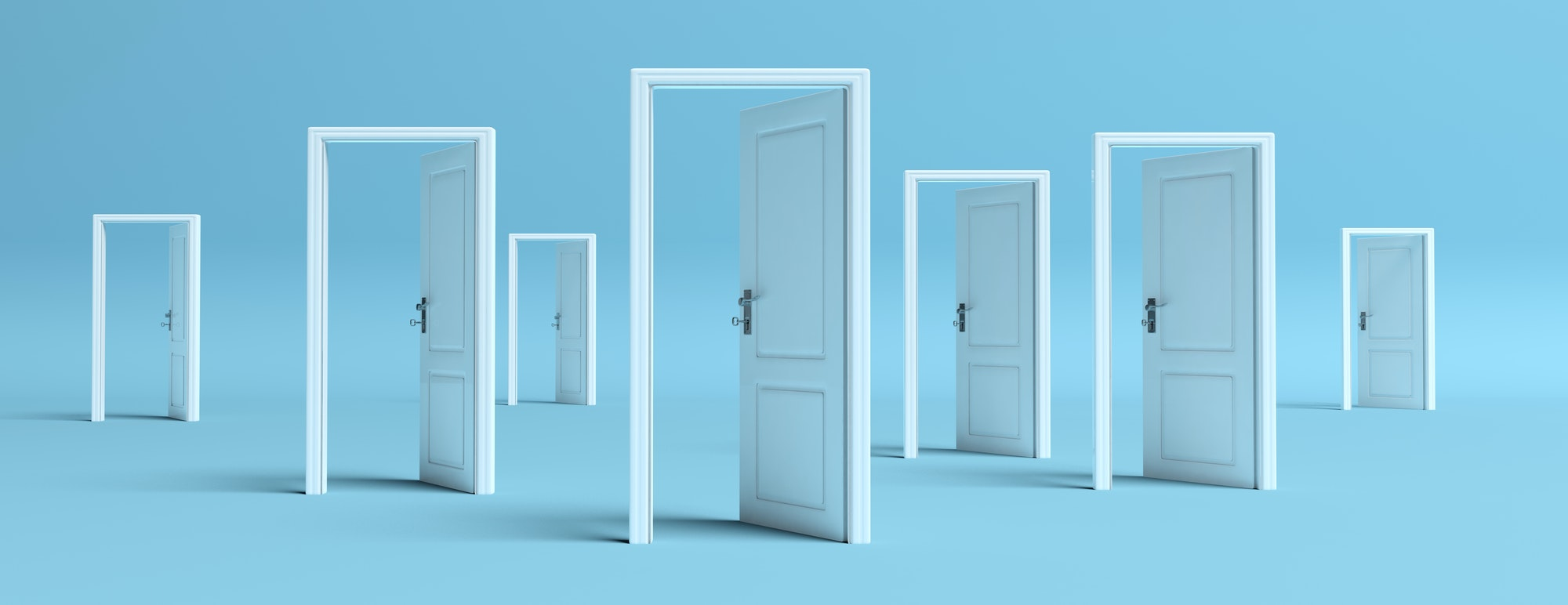 White doors opened on blue background, banner. 3d illustration